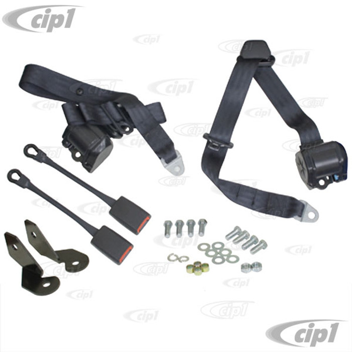 C13-3851 - EMPI - PAIR OF BLACK 3 POINT RETRACTABLE EUROPEAN STYLE SEATBELTS - WITH BRACKETS & MOUNTING HARDWARE - BEETLE - SOLD SET