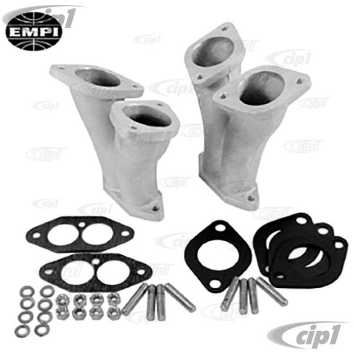 C13-43-1019 - EMPI - DUAL 40-44 HPMX/IDF WEBER STYLE CARB. STANDARD MANIFOLD KIT - EXTRA MATERIAL FOR PORTING - INCLUDED GASKETS AND HARDWARE - 1600CC BEETLE STYLE DUAL PORT ENGINES - SOLD PAIR