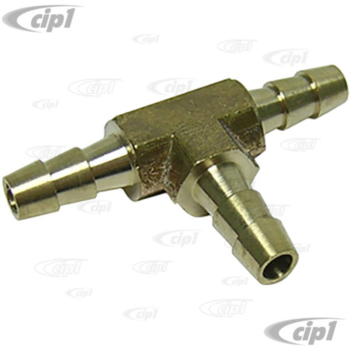 C13-43-4402 - FUEL LINE T-FITTING - 3 WAY BRASS WITH 1/4 INCH DIAMETER INLETS