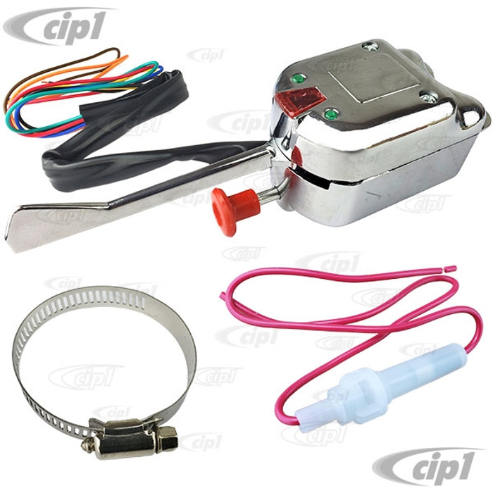 ACC-C10-5730 - UNIVERSAL CHROME COLUMN MOUNT UNIVERSAL TURN SIGNAL SWITCH WITH 4-WAY FLASHER - STEERING COLUMN MOUNT - SOLD EACH
