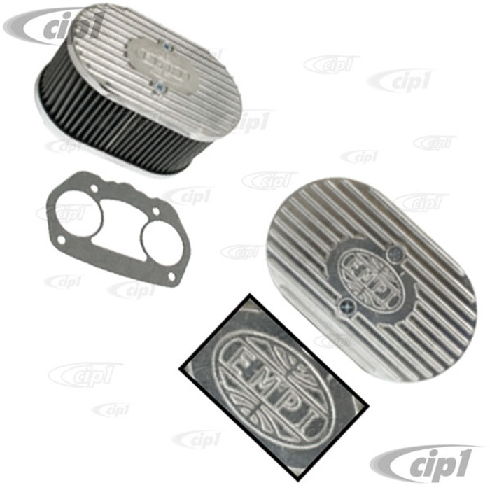 C13-43-6018 - EMPI - DIE-CAST ALUMINUM OVAL AIR CLEANER ASSEMBLY - ALL HPMX/IDF/DELLORTO CARBURETORS - 7.25 INCH LONG X 4.5 INCH WIDE X 3.875 INCH HIGH - SOLD EACH