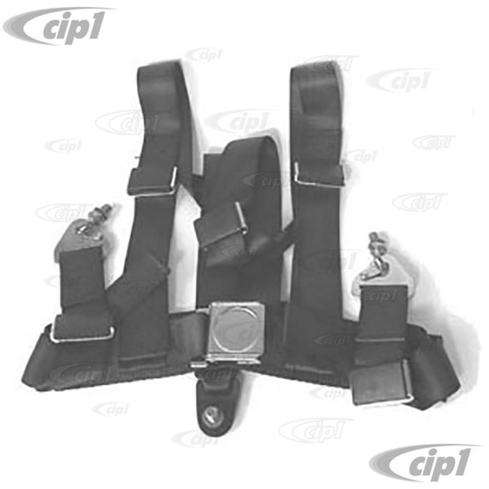 ACC-C10-2335 - ECONO BUGGY BELT 3 POINT HARNESS - 2 INCH LAP WITH 2 INCH SHOULDER - BLACK - SOLD EACH