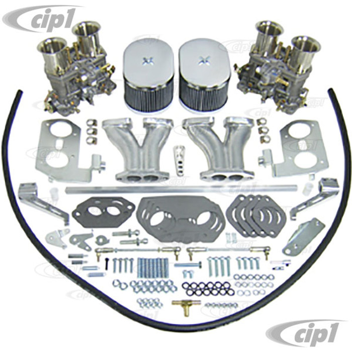 C13-43-7317 - EMPI GENUINE DUAL WEBER 40MM IDF CARBURETOR KIT WITH HEX BAR LINKAGE (VELOCITY STACKS NOT INCLUDED AS PICTURED) DUAL PORT ENGINE - WILL ONLY FIT 36HP STYLE FAN SHROUD (WILL NOT FIT WITH STOCK SHROUD) - SOLD KIT
