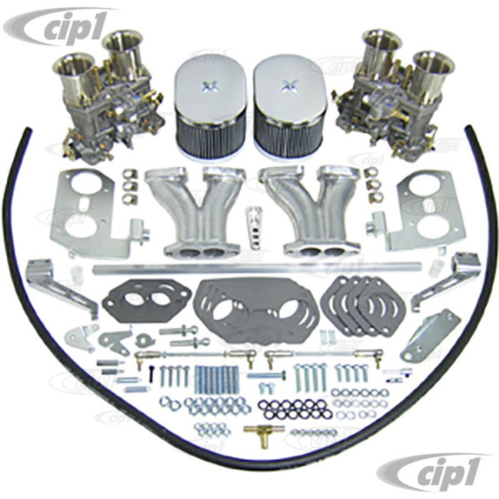 C13-43-7319 - EMPI GENUINE DUAL WEBER 44MM IDF CARBURETOR KIT WITH HEX BAR LINKAGE - DUAL PORT ENGINE - WILL ONLY FIT 36HP STYLE FAN SHROUD (WILL NOT FIT WITH STOCK SHROUD) - SOLD KIT