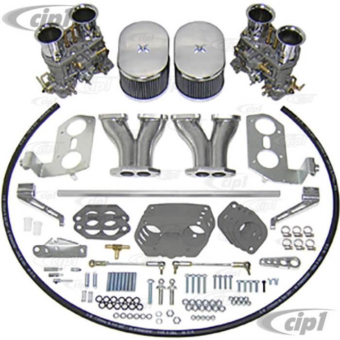 C13-47-7317 - EMPI DUAL 40MM HPMX CARBURETOR KIT WITH HEX BAR LINKAGE - DUAL PORT ENGINE - WILL ONLY FIT 36HP STYLE FAN SHROUD (WILL NOT FIT WITH STOCK SHROUD) - SOLD KIT
