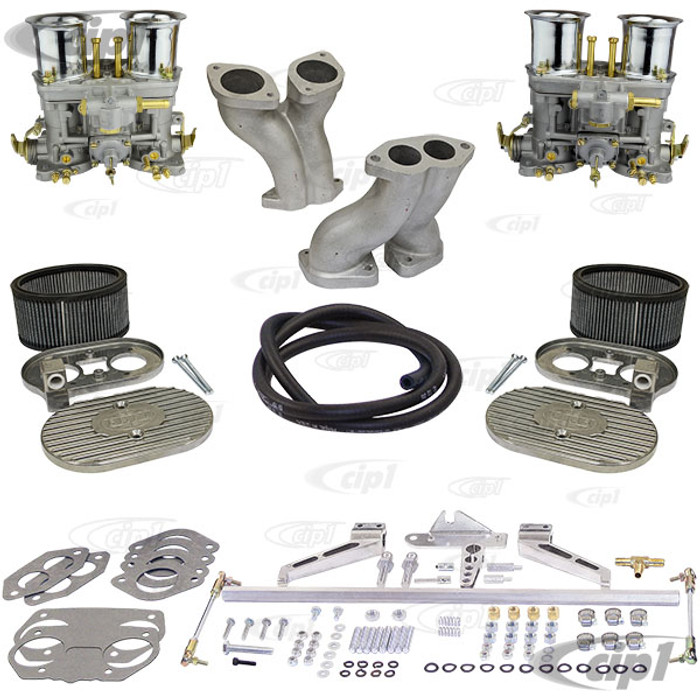 C13-47-7317-ULTRA - CIP1 PREMIUM QUALITY - ULTRA DELUXE DUAL 40MM OR 44MM IDF/HPMX STYLE CARBURETOR KIT - FITS BEETLE/GHIA/BUS - FITS BEST WITH 36HP FAN SHROUD - STOCK FAN SHROUD MAY NEED MODIFICATIONS - SOLD KIT