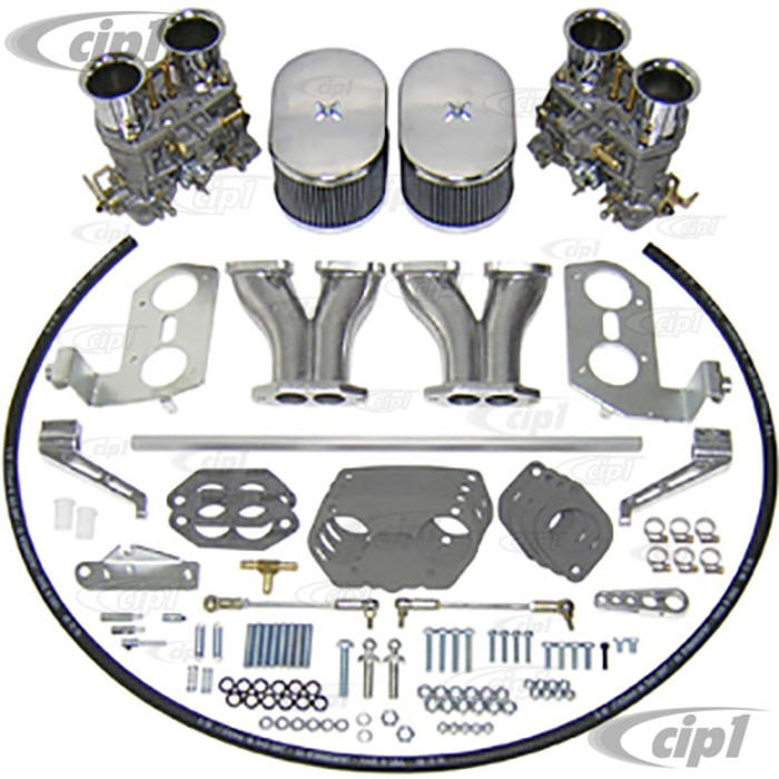 C13-47-7319 - EMPI DUAL 44MM HPMX CARBURETOR KIT WITH HEX BAR LINKAGE - DUAL PORT ENGINE - WILL ONLY FIT 36HP STYLE FAN SHROUD (WILL NOT FIT WITH STOCK SHROUD) - SOLD KIT