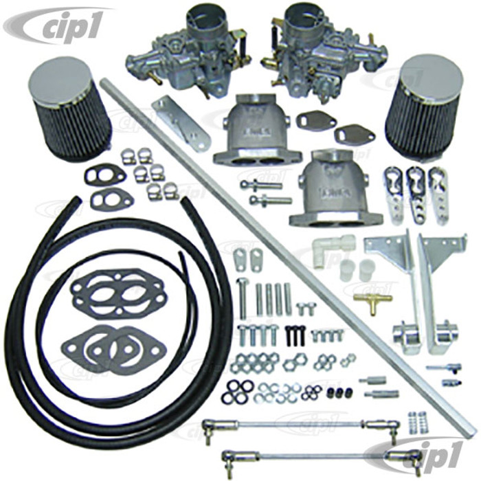 C13-47-7411 - DUAL EMPI 34MM EPC CARB KIT W/ HEX BAR LINKAGE FOR DUAL PORT TYPE-1 BEETLE STYLE ENGINES - (A30)