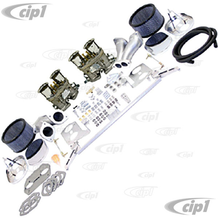 C13-47-8319 - EMPI - DELUXE DUAL 44MM HPMX CARBURETOR KIT WITH CHROME AIR CLEANERS - T1 BEETLE STYLE ENGINES -(A30)