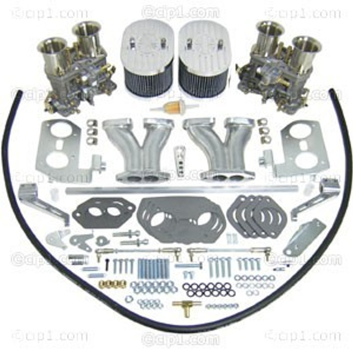C13-47-9319 - EMPI DUAL 40MM HPMX DELUXE DUAL 44MM IDF CARB KIT WITH HEX BAR LINKAGE - 1600CC DUAL PORT BEETLE STYLE ENGINE - FITS BEST WITH STOCK FAN SHROUD - ALSO FITS WITH 36HP SHROUD - SOLD KIT