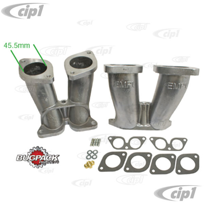 C13-48-1295 - BUGPACK - PAIR OF 356/912 PORSCHE DUAL INTAKE MANIFOLDS (45.5MM OPENING) - ALLOWS USE OF 44MM IDF/HPMX CARBURETORS - SOLD PAIR