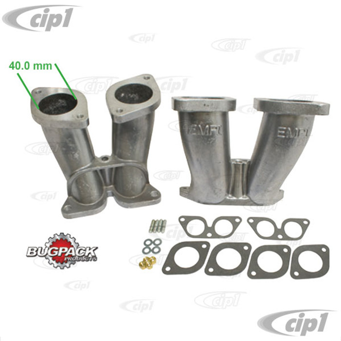 C13-48-1296 - BUGPACK - PAIR OF 356/912 PORSCHE DUAL INTAKE MANIFOLDS (40.0MM OPENING) - ALLOWS USE OF 40MM IDF/HPMX CARBURETORS - SOLD PAIR