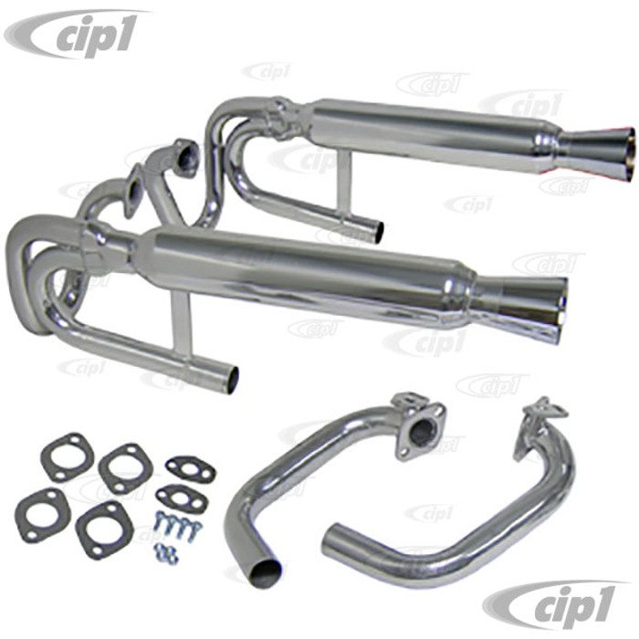 C13-55-3373 - EMPI -BUGGY CERAMIC COATED DUAL EXHAUST - W/CLEARANCE FOR DUAL CARB. 12-1600CC BEETLE & T-3 -(A20)