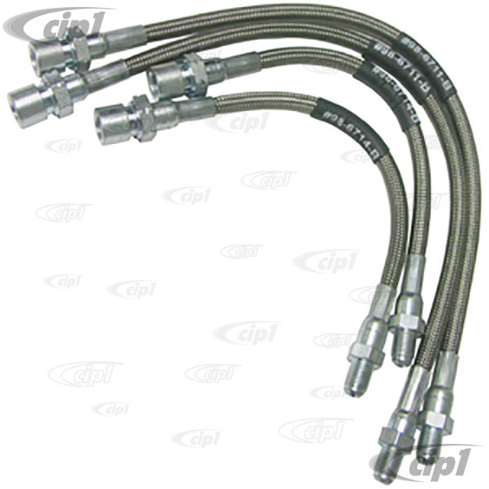 C13-5587 - EMPI - BRAIDED STAINLESS STEEL BRAKE HOSE KIT - MADE IN THE USA -  STD BEETLE 69-ON - SET OF 4