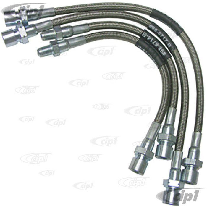 C13-5588 - EMPI - BRAIDED STAINLESS STEEL BRAKE HOSE KIT - MADE IN THE USA -  SUPER BEETLE 71-73 - SET OF 4