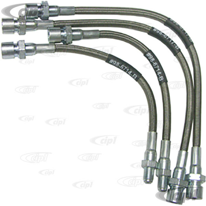 C13-5589 - EMPI - BRAIDED STAINLESS STEEL BRAKE HOSE KIT - MADE IN THE USA -  SUPER BEETLE 74-ON - SET OF 4