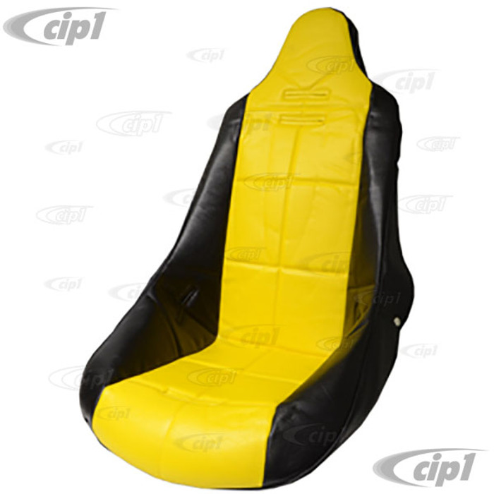 C13-62-2350 - EMPI - POLY HIGH BACK BUCKET SEAT COVER – BLACK WITH YELLOW INSERT – SQUARE PATTERN (FIT ACC-C10-2270 SEAT) - SOLD EACH