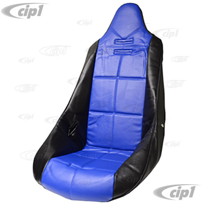 C13-62-2352 - EMPI - POLY HIGH BACK BUCKET SEAT COVER – BLACK WITH BLUE INSERT – SQUARE PATTERN (FIT ACC-C10-2270 SEAT) - SOLD EACH