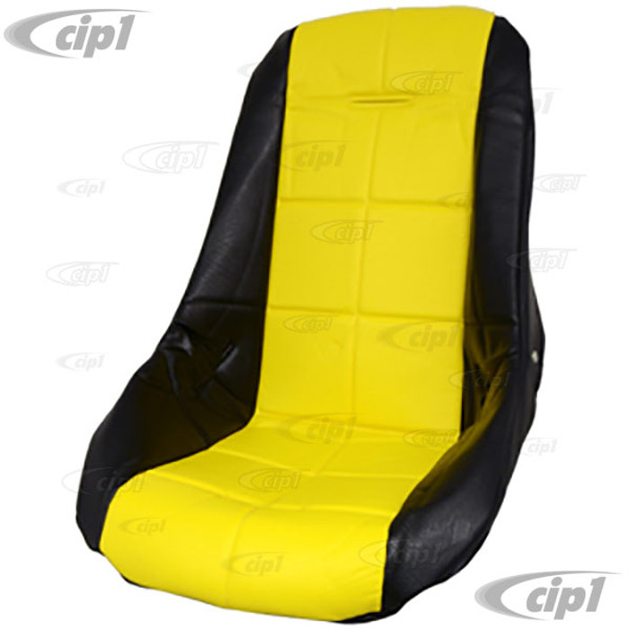 C13-62-2409 - EMPI - POLY LOW BUCKET SEAT COVER – BLACK WITH YELLOW INSERT – SQUARE PATTERN (FIT ACC-C10-2280 SEAT) - SOLD EACH