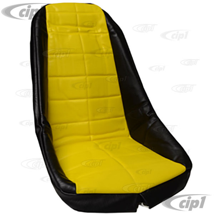 C13-62-2610 - EMPI - PLASTIC LOW BUCKET SEAT COVER – BLACK WITH YELLOW INSERT – SQUARE PATTERN (FIT ACC-C10-2200 SEAT) - SOLD EACH