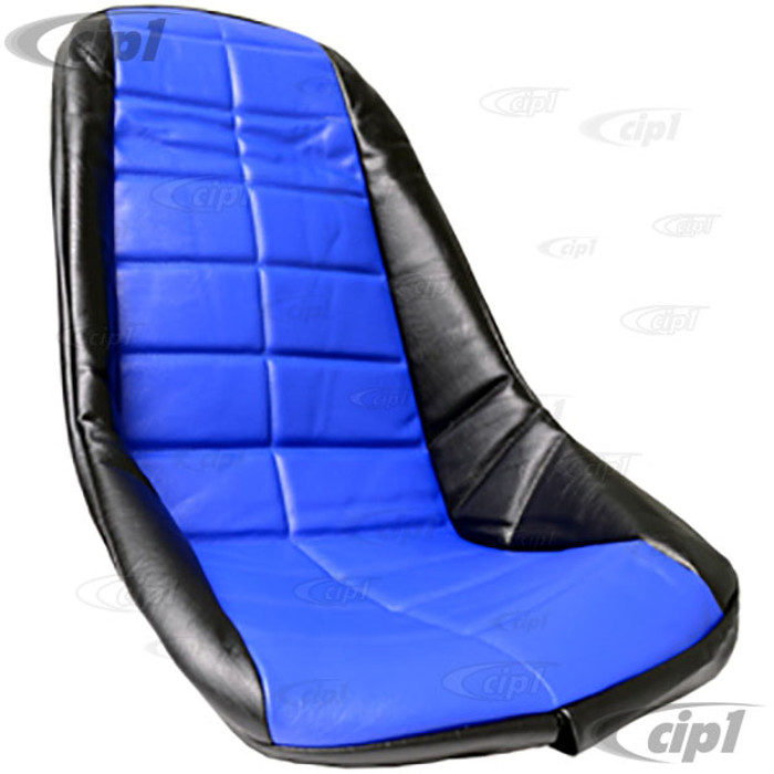 C13-62-2612 - EMPI - PLASTIC LOW BUCKET SEAT COVER – BLACK WITH BLUE INSERT – SQUARE PATTERN (FIT ACC-C10-2200 SEAT) - SOLD EACH