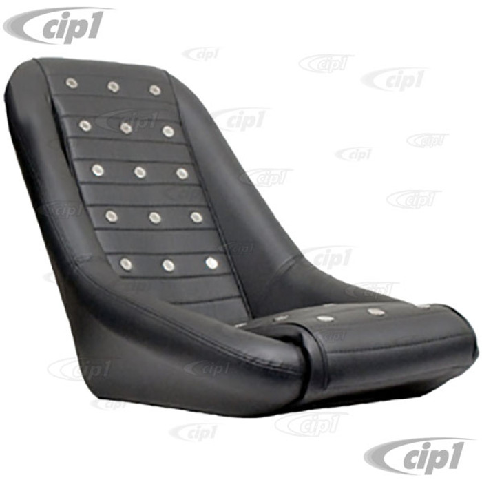 C13-62-2881 - EMPI - LOW BACK ROADSTER STYLE SEAT - BLACK VINYL WITH POLISHED VENT GROMMETS - UNIVERSAL FIT - BRACKET NOT INCLUDED - SOLD EACH - (A30)