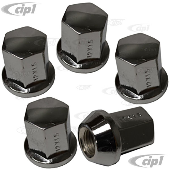 C13-70-2870 - EMPI – SET OF 5 CHROME STEEL LUG NUTS – 60 DEGREE ACORN SEAT – 12MM THREAD – 19MM HEAD – SET OF 5