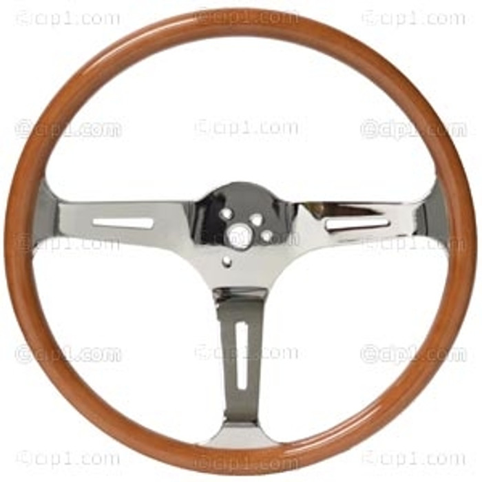 C13-79-4028-KIT - CLASSIC WOOD STEERING WHEEL KIT (23MM GRIP) - 15 INCH (380MM) DIAMETER - 3 INCH DISH - 3 CHROME STEEL SLOTTED SPOKES - WITH CHOICE OF HORN BUTTON