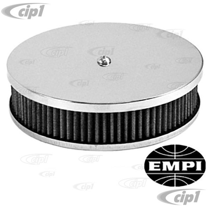C13-8957 - EMPI -AIR CLEANER FOR STOCK VW BEETLE CARB. 6-3/8 IN.CHROME TOP - 2-1/2 INCH HIGH - GAUZE