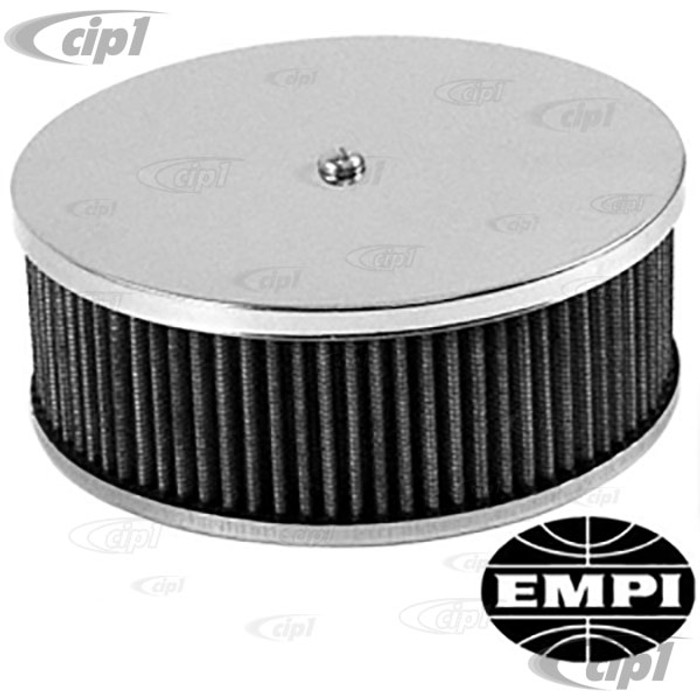 C13-8970 - EMPI -AIR CLEANER FOR STOCK VW BEETLE CARB. 6-3/8 IN.CHROME TOP - 3-1/2 INCH HIGH - GAUZE