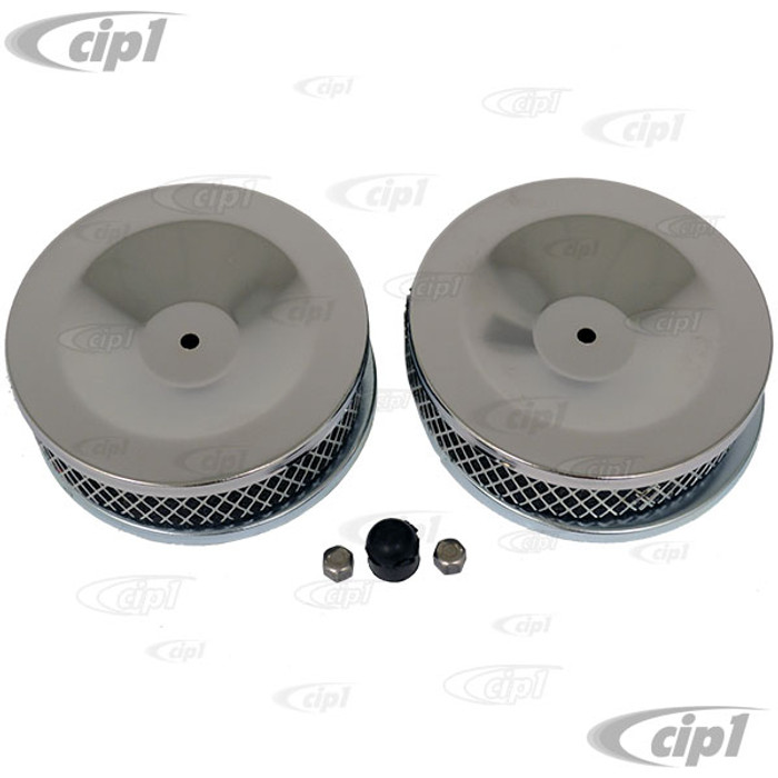 C13-9127 - PAIR OF SUPER-LOW PROFILE CHROME AIR CLEANERS FOR TYPE-3 WITH ORIGINAL DUAL CARBS - WASHABLE FOAM ELEMENTS - SOLD PAIR