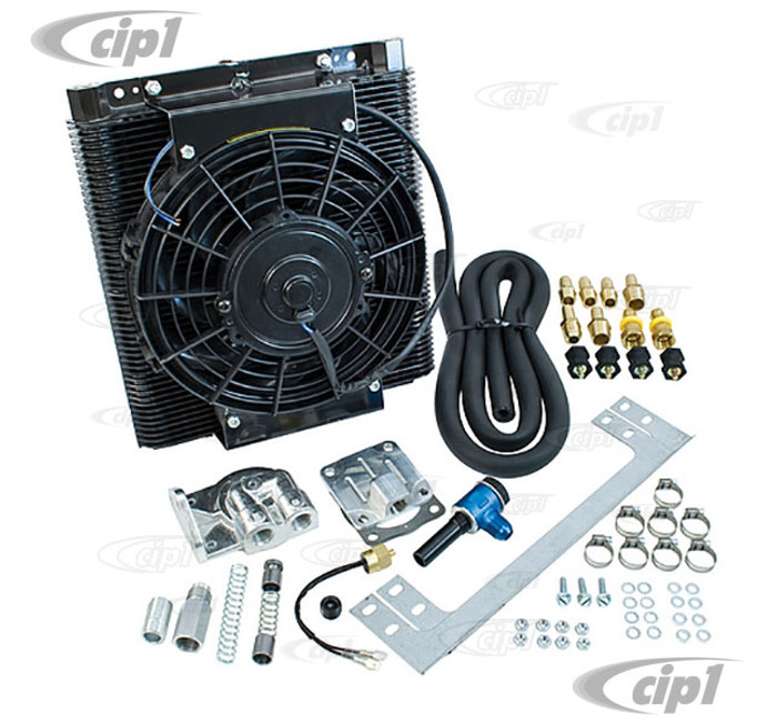 C13-9248 - EMPI – DIRECT BOLT-ON OIL COOLER FAN KIT (LEAVE ORIGINAL COOLER IN PLACE – NO MACHINING REQUIRED)  – INCLUDES 96 PLATE COOLER / 9 INCH FAN / ALL OTHER HARDWARE – COMPLETE KIT
