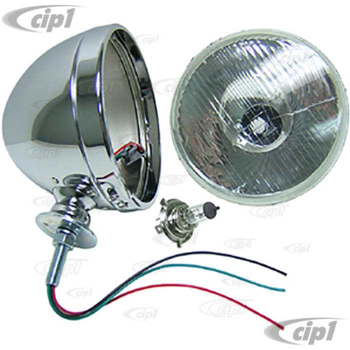 C13-9305 - EMPI - DIETZ STYLE 7 INCH CHROME HEADLIGHT WITH 12-VOLT 55/60 WATT H4 HALOGEN BULB - PIGTAIL WIRING - SOLD EACH