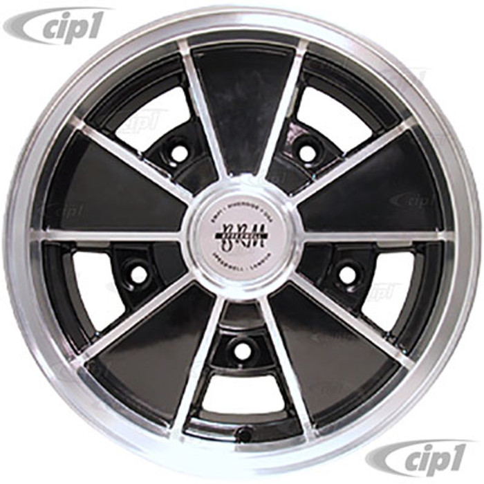C13-9676 - EMPI - BRM REPLICA BLACK 5 SPOKE WHEEL - 15 INCH x 5 INCH WIDE (3-7/16 IN. BACK SPACE) - WIDE 5 BOLT PATTERN (5x205MM) WITH CENTER CAP AND VALVE STEM - SOLD EACH