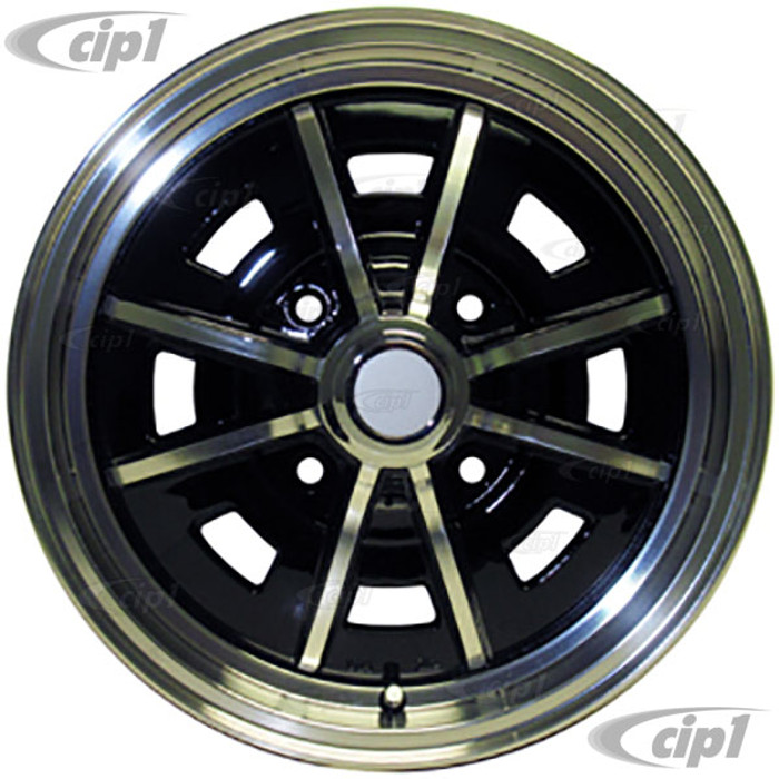 C13-9688 - EMPI BRAND - 4 BOLT X 130MM SPRINT STAR ALUMINUM WHEEL - BLACK WITH POLISHED SPOKES - 5 INCH WIDE X 15 INCH DIA. (3.7 INCH BACKSPACE) - CENTER CAP AND VALVE STEM INCLUDED - BEETLE/GHIA 68-79 / TYPE-3 66-73 - SOLD EACH - (A20)