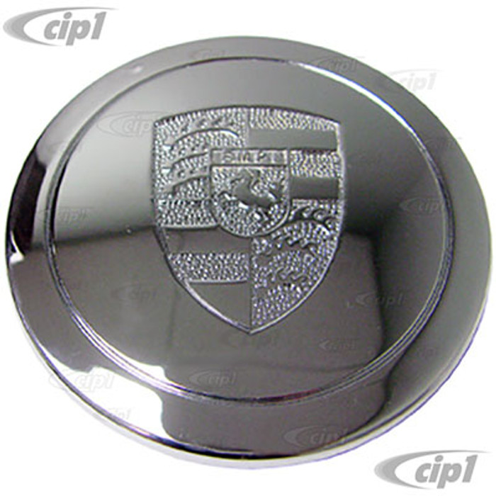 C13-9718 - EMPI - CHROME METAL LOGO CENTER CAP FOR 17INCH 911 STYLE AND GAS-BURNER WHEEL (FIT 70MM DIA. HOLE) - SOLD EACH