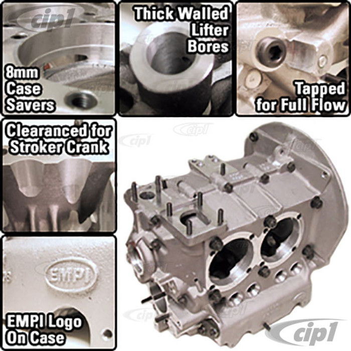 C13-98-0453-B - EMPI HEAVY DUTY BUBBLE TOP ALUMINUM ENGINE CASE - BORED FOR 90.5 & 92MM PISTONS - MACHINED FOR STROKER CRANK / FOR 8MM HEAD STUDS - (A60)