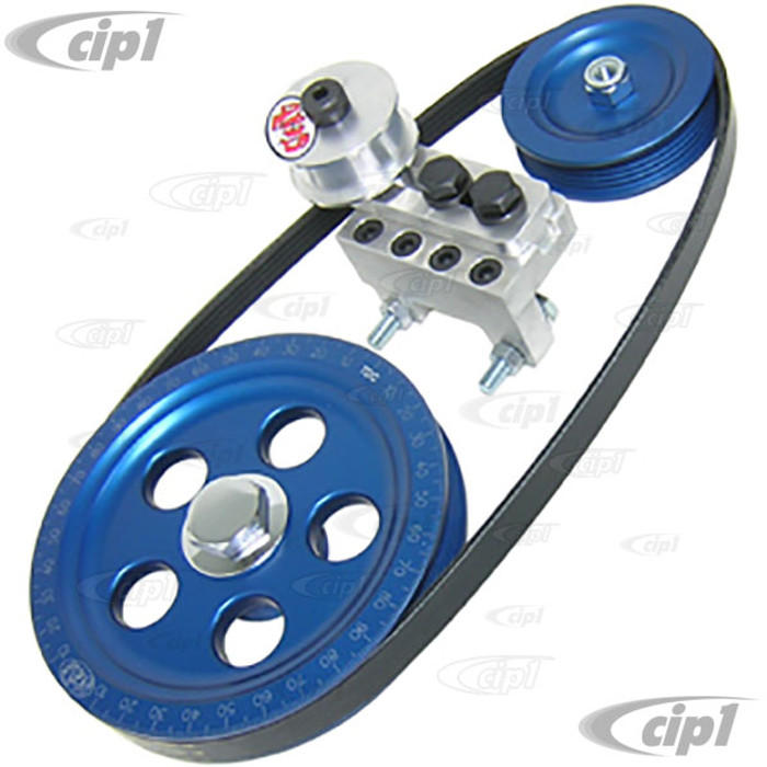 C15-80316B - SCAT SERPENTINE BELT SYSTEM KIT - ANODIZED BLUE WITH ETCHED TIMING MARKS - 1600CC BEETLE STYLE ENGINES - ALL BILLET ALUMINUM CONSTRUCTION