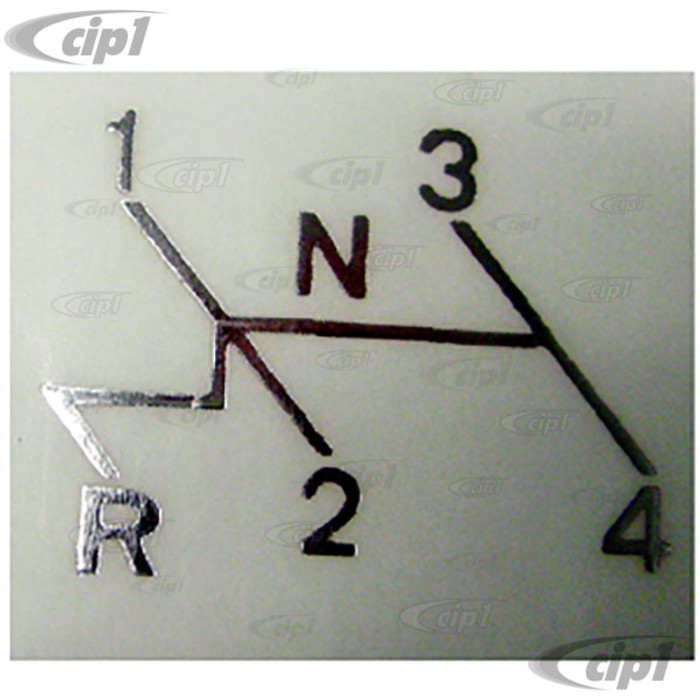 C16-111-0000 - (113-000-115 113000115) - SHIFT PATTERN STICKER - WHITE ON CLEAR 4 SPEED - 2.5X 1.5 - SOLD EACH