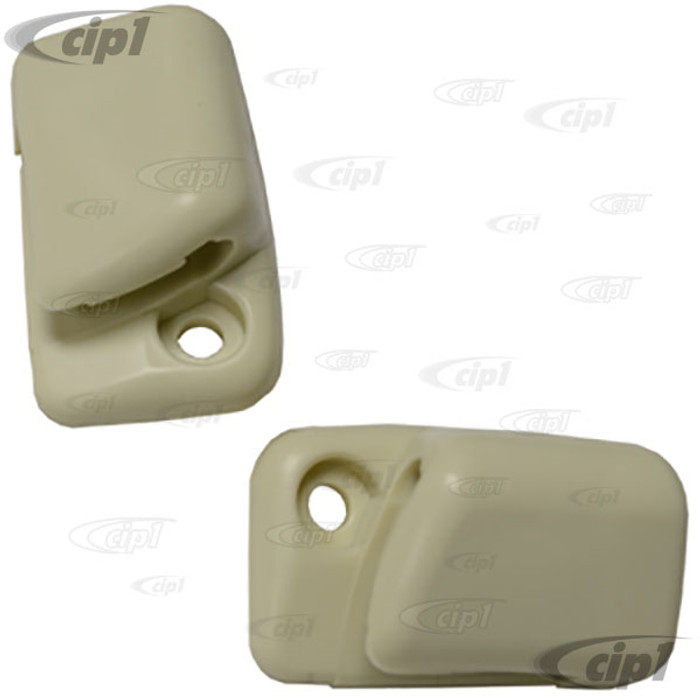 C16-111-561B-LR - (111-857-561BWH 111857561BWH) - SUNVISOR CLIPS - WHITE - BEETLE 68-79 - GHIA 68-74 - TYPE-3 62-74 - SOLD PAIR