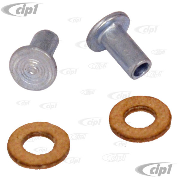 C16-111-648 - (N136612 S00292 111-837-637 111837637) - GERMAN - RIVETS & WASHERS - UPPER VENT PIVOTS - BEETLE/GHIA 52-79 - BUS 53-79 - TYPE-3 62-74 - SOLD 4 PIECE SET