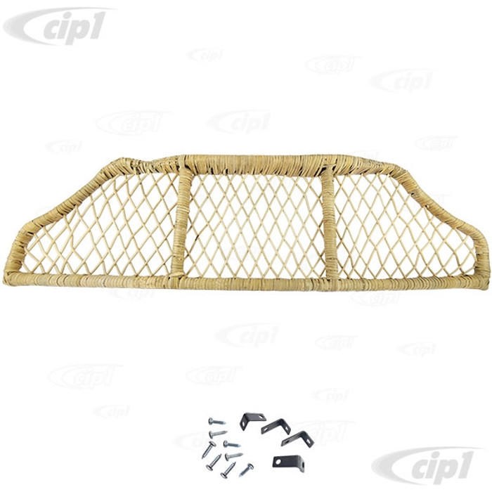 C16-113-110 - (4870) BAMBOO UNDER DASH PARCEL TRAY / PACKAGE SHELF - MOUNTING HARDWARE INCLUDED - STANDARD BEETLE 46-77 / SUPER BEETLE 71-72 - SOLD EACH