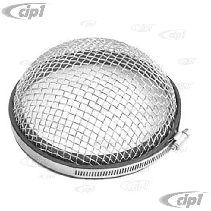 ACC-C10-5438 - EMPI 9195 - CHROME AIR INTAKE SCREEN WITH STAINLESS STEEL CLAMP - MOUNTS ON BACKSIDE OF FAN SHROUD - ONLY FITS EARLY 36HP STYLE SHROUDS (DOES NOT FIT DOGHOUSE SHROUD) - SOLD EACH