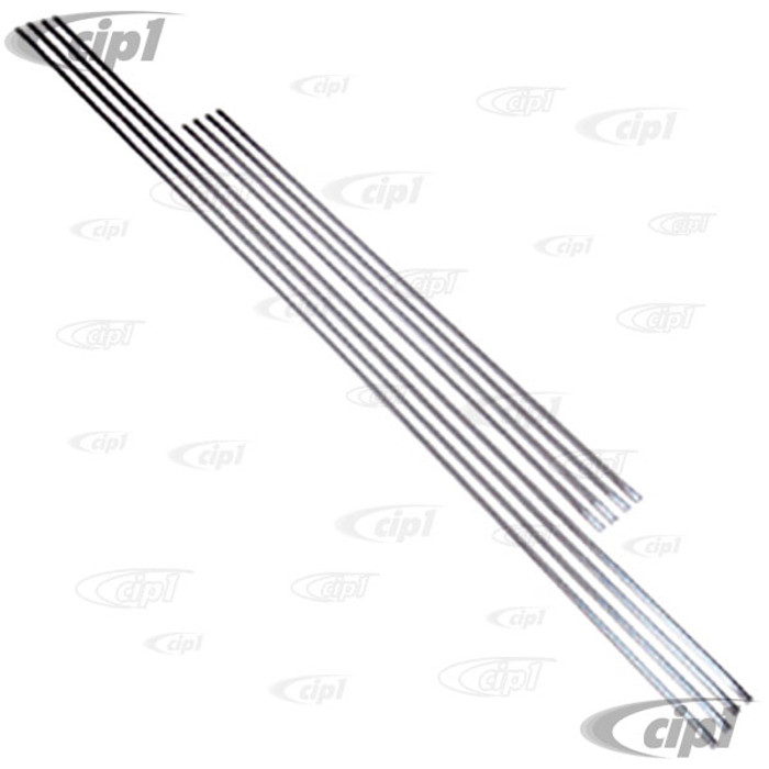 C16-151-500M - (151-853-400) GERMAN MADE - CHROME MOLDING SET ON TOP OF DOORS & QUARTERS - 8 PIECES (CLIPS SOLD SEPARATELY - SEE C16-151-698) - BEETLE CONVERTIBLE 52-64 - SOLD SET OF 8