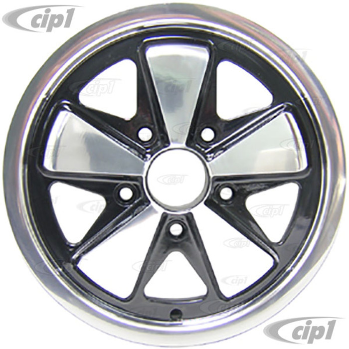 ACC-C10-6645 - 911 STYLE 5 SPOKE ALUMINUM WHEEL - BLACK WITH POLISHED SPOKES - 4.5 INCH WIDE X 15 INCH DIA. - 5X130MM BOLT PATTERN (4-1/8 INCH BACKSPACE) - CENTER CAP AND HARDWARE SOLD SEPARATELY - SOLD EACH