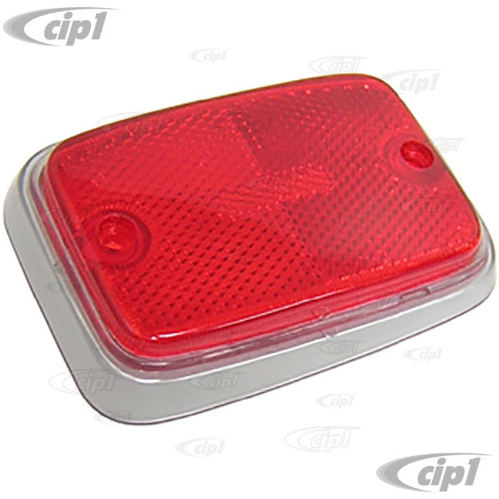 C16-221-363A-LR - (211-945-363A 211945363A) - REAR SIDE MARKER REFLECTOR RED W/ SILVER TRIM - LEFT OR RIGHT - BUS 70-74 - SOLD EACH