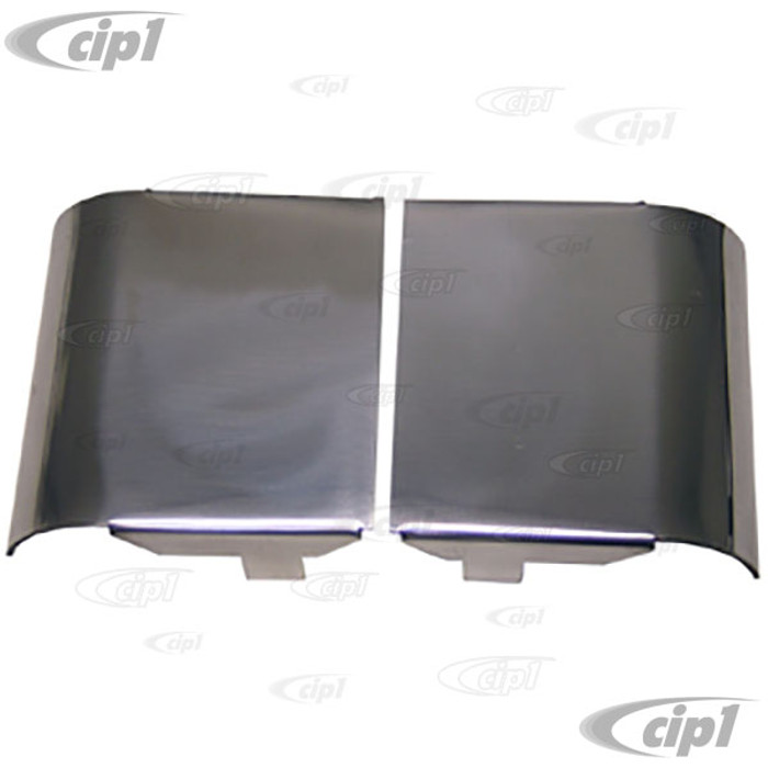 C21-0484-200 - DOOR HINGE OUTER COVERS - POLISHED ALUMINUM - BUS 52-67 - 2 PIECE SET
