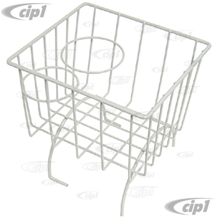 C21-0548-01 - WHITE STOW AWAY BASKET AND CUP HOLDER - OVER MIDDLE HUMP (BASKET MEASURES 7-3/8 IN. WIDE X 8-1/4 IN. LONG X 8-1/4 IN. TALL) - ALL BEETLE/GHIA/TYPE-3 - SOLD EACH