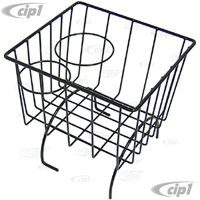 C21-0548-02 - BLACK STOW AWAY BASKET AND CUP HOLDER - OVER MIDDLE HUMP (BASKET MEASURES 7-3/8 IN. WIDE X 8-1/4 IN. LONG X 8-1/4 IN. TALL) - ALL BEETLE/GHIA/TYPE-3 - SOLD EACH