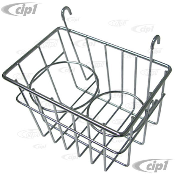 C21-0549-03 - STOW AWAY BASKET AND CUP HOLDER - CLIPS ONTO DASH - BUS 52-67 - CHROME